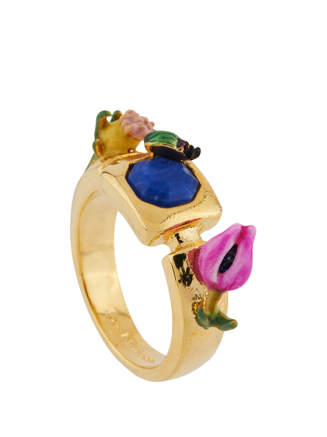 Giverny In Winter Ladybird, Blue Stone and Bud Ring - Multicolor Alternate View