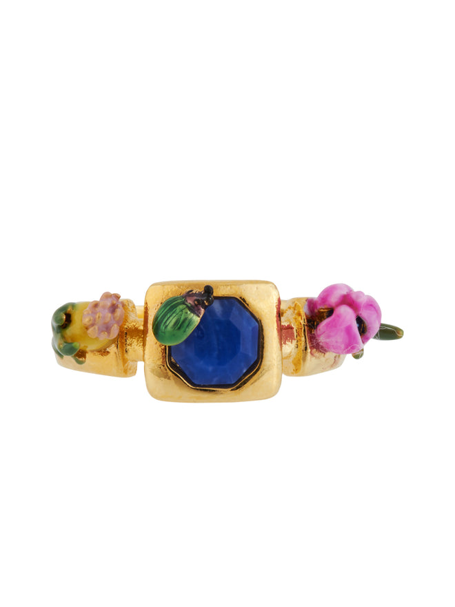 Giverny In Winter Ladybird, Blue Stone and Bud Ring - Multicolor