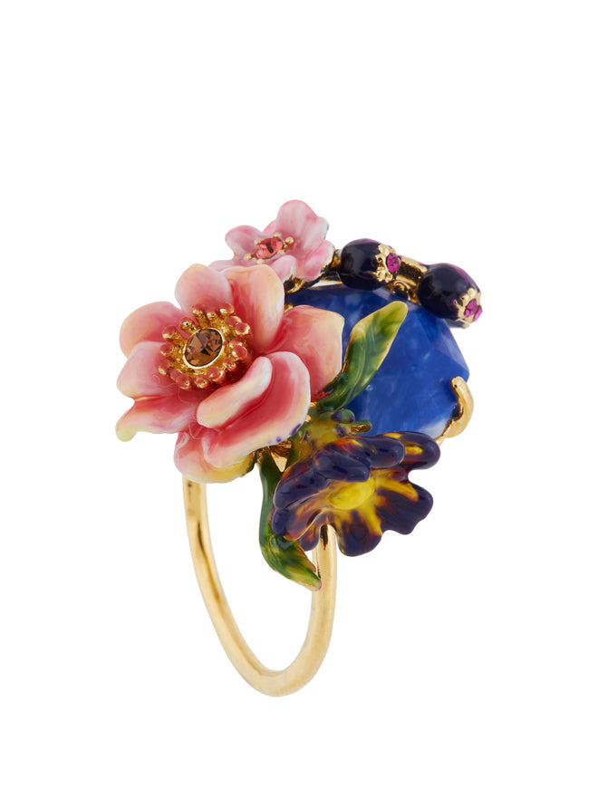 Giverny In Winter Stone Decorated with Flowers and Buds Ring - Multicolor Alternate View
