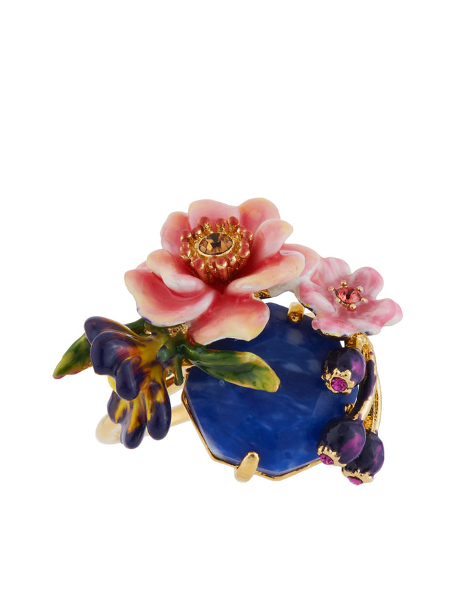 Giverny In Winter Stone Decorated with Flowers and Buds Ring - Multicolor