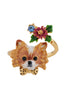 Les Nereides Loves Animals Chihuahua and Flower Adjustable Ring