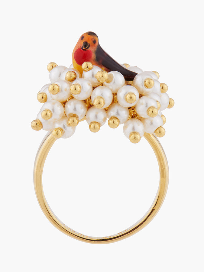 Under The Chestnut Tree Robin and Pearl Nest Cocktail Ring - Multicolor