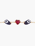 Swallow and Heart Chain Bracelet