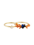 Exoplanet Branch of Coral and Little Pearl Set of 2 Rings - Orange
