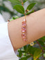 La Diamantine Pink Peach 5 Stones Thin Chain Bracelet Alternate View