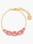 La Diamantine Pink Peach 5 Stones Thin Chain Bracelet
