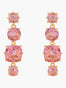 La Diamantine Pink Peach 4 Stones Stud Earrings