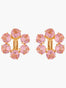 La Diamantine Pink Peach 6 Stones Clip-on Creoles