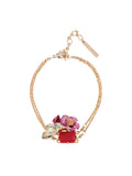Dazzling Discretion Fuchsia Flower and Stones Bracelet