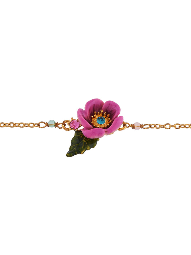 Flowers Symphony Pink Flower with Rhinestone Pistil Bracelet Alternate View