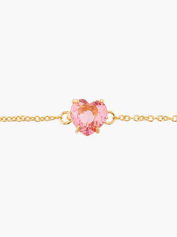 La Diamantine One pink peach heart shaped stone Multicoloured bracelet