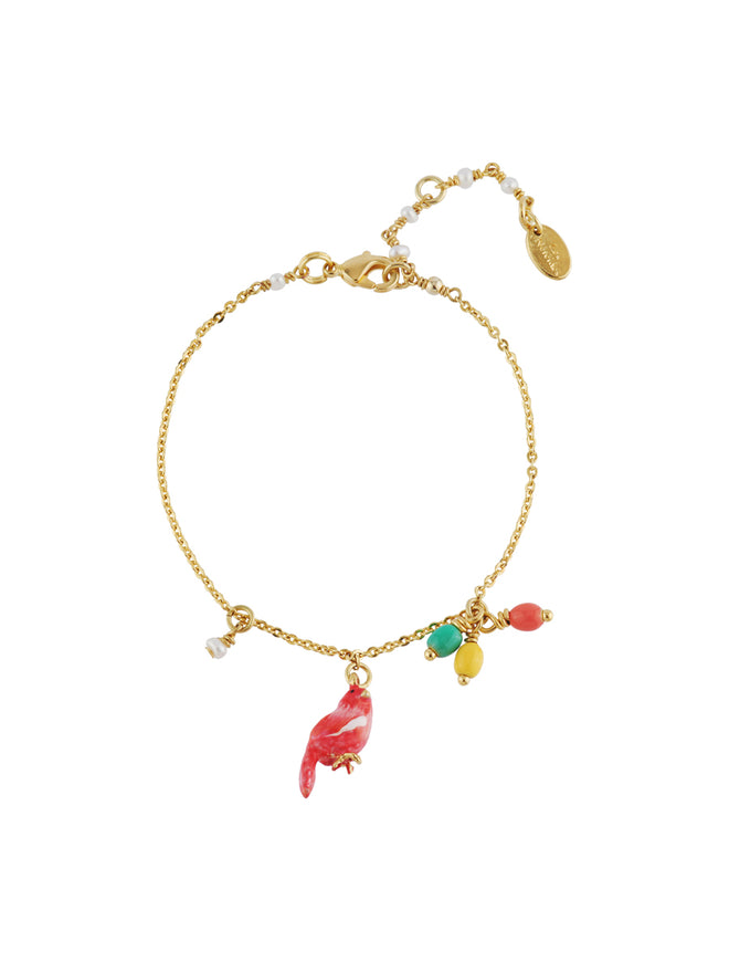 Lovely Canaries Coral Bird and Charms Bracelet