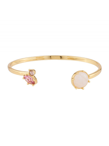 Precious Fancies Bangle bracelet with quartz and pink rhinestone - Pink