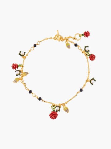 Red Rosebud and Fantasy Beads Pendant Bracelet