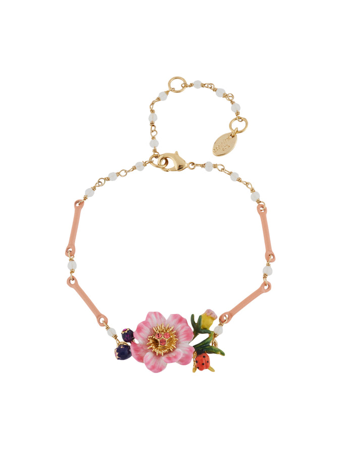 Winter In Giverny Pink Flower Beaded Bracelet