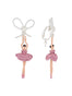 LUXURY PAS DE DEUX PINK SILVER RHINESTONE BALLERINA AND PEARL CLIP-ON EARRINGS Alternate View