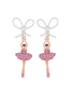 LUXURY PAS DE DEUX PINK SILVER RHINESTONE BALLERINA AND PEARL CLIP-ON EARRINGS