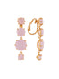 La Diamantine 4 Pink Stones Hanging Stud Earrings Alternate View