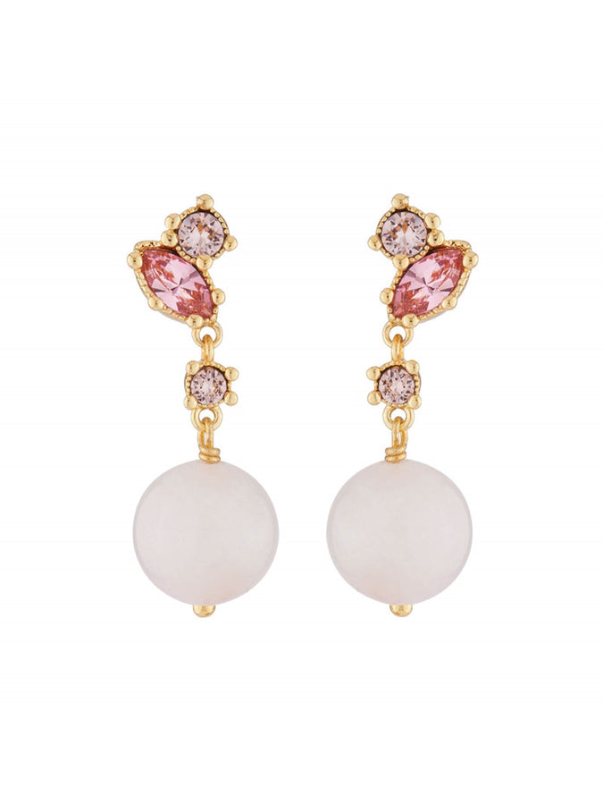 Precious Fancies Dangling clip on earrings with quartz pearl and pink rhinestones