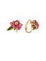 Balad In Versailles Pink Flower and Leaf Clip Earrings Alternate View