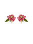 Balad In Versailles Pink Flower and Leaf Clip Earrings