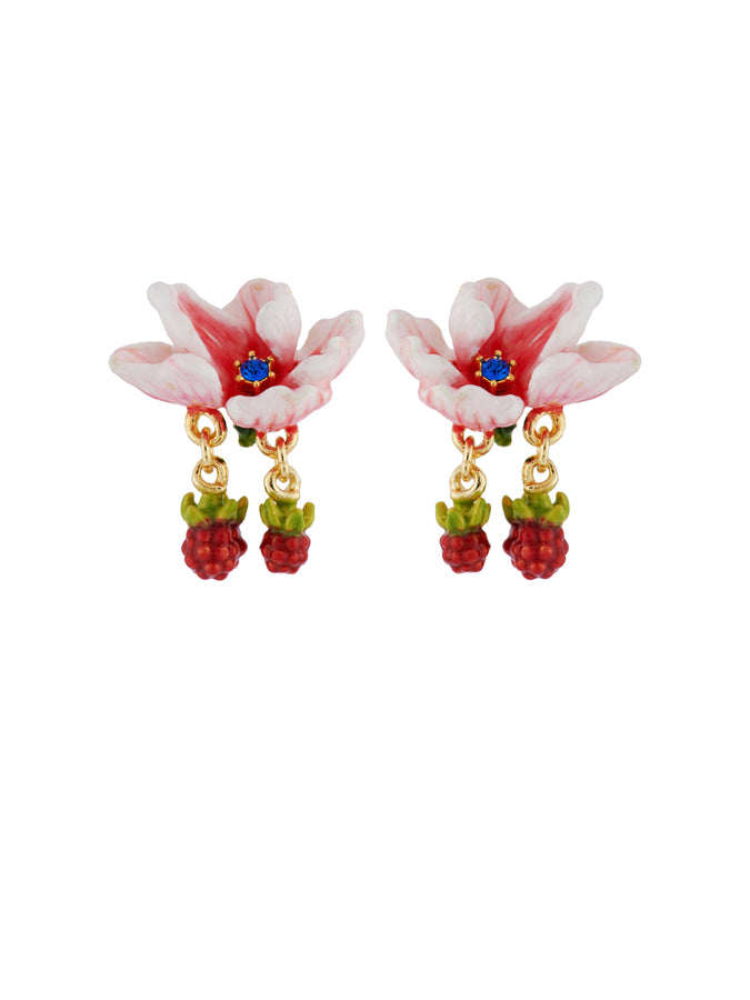 Balad In Versailles Pink Flower and Little Blackberries Earrings