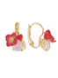 Dazzling Discretion Poppy and red heart on carved crystal dormeuses earrings Alternate View
