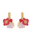 Dazzling Discretion Poppy and red heart on carved crystal dormeuses earrings