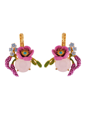 Flowers Symphony Pink Flower on Faceted Glass, Flowers and Lavander's Branches Earrings