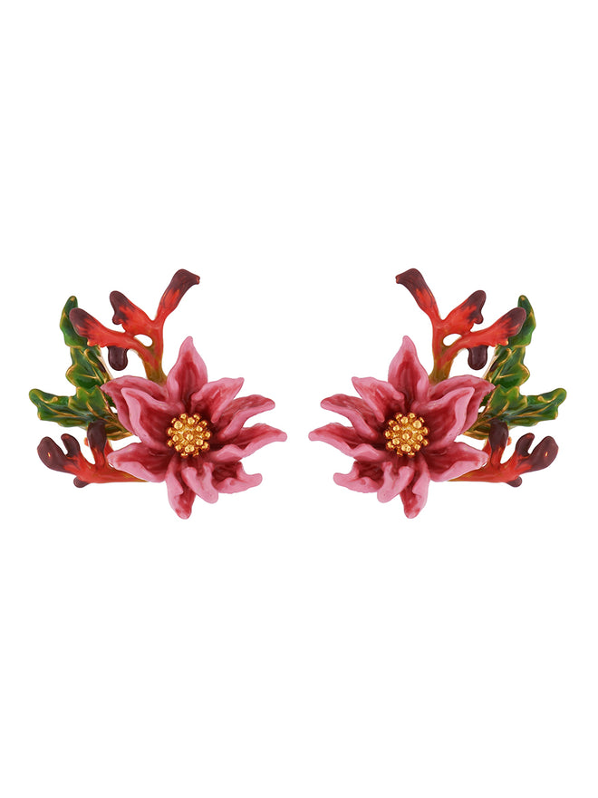 Flowers Symphony Pink Flower with Golden Pistil Earrings