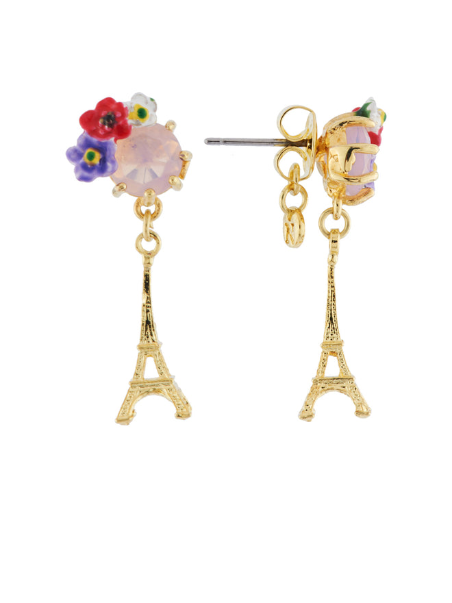 From Paris with Love Eiffel Tower and Flowered Stone Earrings Alternate View