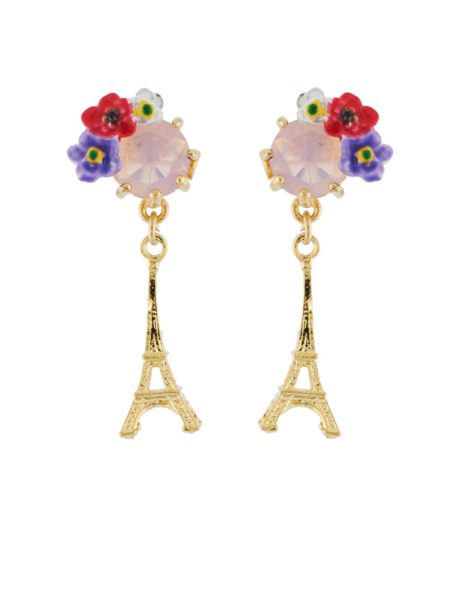 From Paris with Love Eiffel Tower and Flowered Stone Earrings