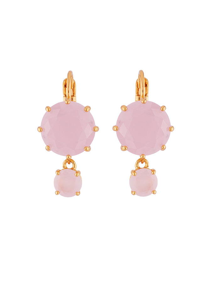 La Diamantine 2 Asymmetrical Pink Stones Dormeuse Earrings