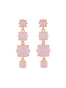 La Diamantine 4 Pink Stones Hanging Stud Earrings