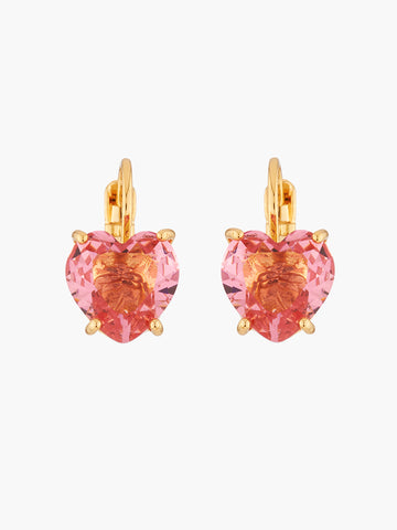 La Diamantine Pink peach heart shaped stone Multicoloured dormeuses earrings