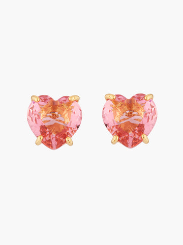La Diamantine Pink peach heart shaped stone Multicoloured stud earrings