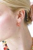 La Diamantine Pink peach square stone Multicoloured clip-on earrings