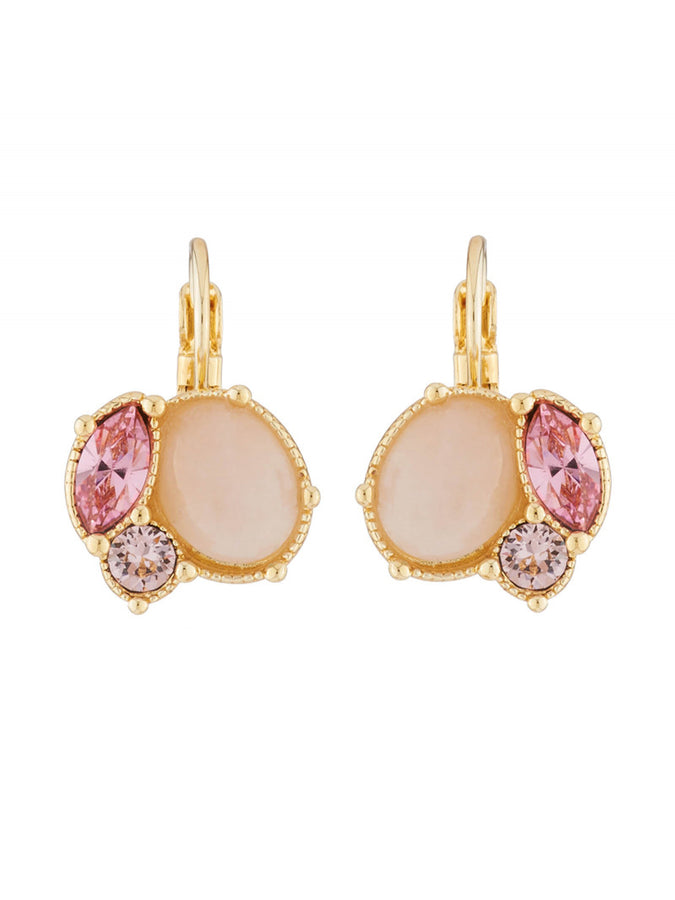 Precious Fancies Quartz and pink rhinestone dormeuses earrings