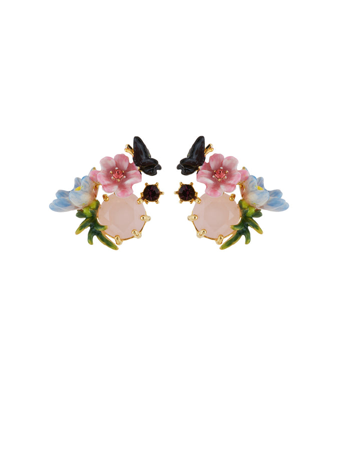 Winter In Giverny Flowers, Butterfly and Faceted Glass Clip Earrings