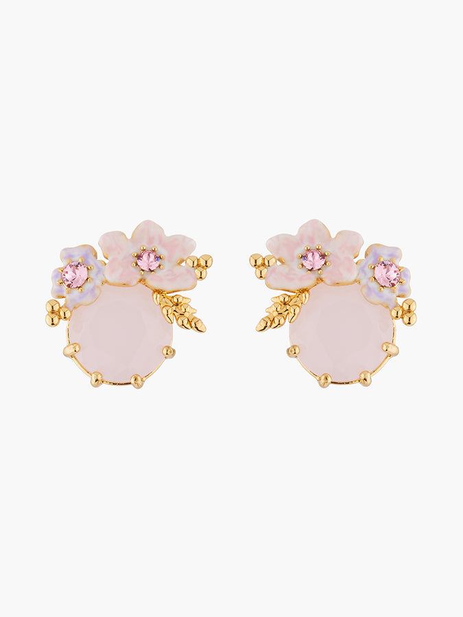 Yes I Do Pink flowers on faceted stone clip-on earrings