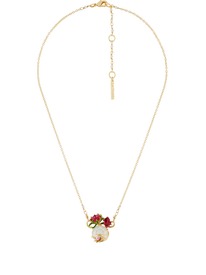 Balad In Versailles Stone with Rose and Bud Necklace Alternate View