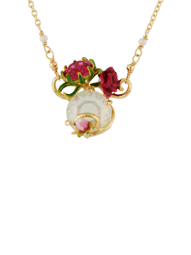 Balad In Versailles Stone with Rose and Bud Necklace