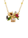 Balad In Versailles White Flower on Stone with Butterfly and Rhinestone Convertible Necklace