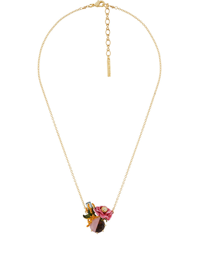 Dazzling Discretion Crystal and Pink Flower on Two-Coloured Stone Necklace Alternate View