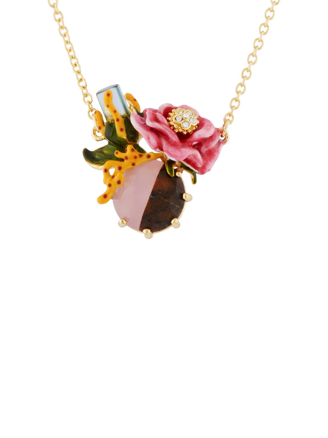 Dazzling Discretion Crystal and Pink Flower on Two-Coloured Stone Necklace