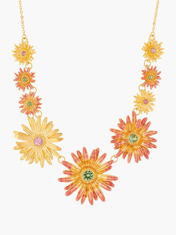 Flower of Love and Crystals Collar Necklace