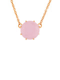 La Diamantine Pink Round Stone Pendant Necklace