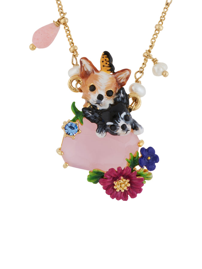 Les Nereides Loves Animals Duo of Chihuahuas on Pink Faceted Glass Half-Beaded Necklace