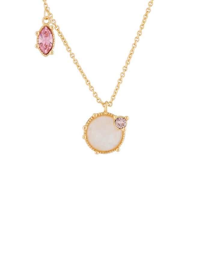 Precious Fancies Quartz and asymetrical rhinestones thin necklace