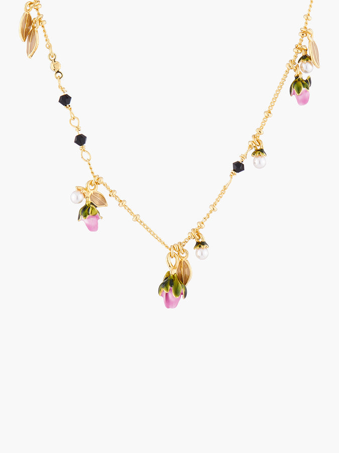Rosebud and Fantasy Beads Pendant Necklace